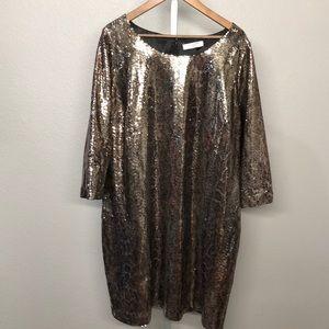 Tahari Gold Sequin Long Sleeve Dress